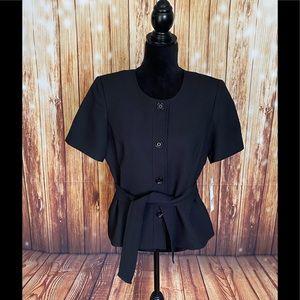 Le Suit WomenBlack Textured Blazer Short Sleeve 10